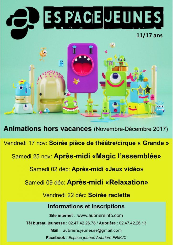Programme Espace Jeunes novembre-décembre 2017