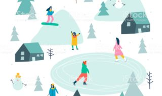 Vector stylized illustration of active young people. Winter season background people vector illustration flat design